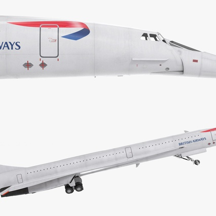 Concorde Supersonic Passenger Jet Airliner British Airways Rigged. Render 17