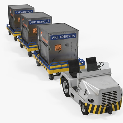 Airport Tug Clark CT30 Carrying Passengers Luggage. Render 2