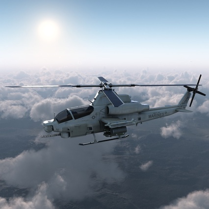 Attack Helicopter Bell AH 1Z Viper Rigged. Render 9