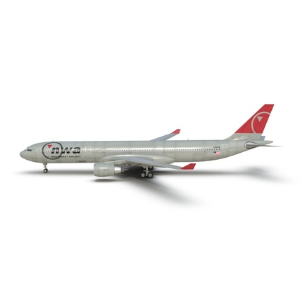 Jet Airliner Airbus A330-300 Northwest Airlines Rigged. Render 3