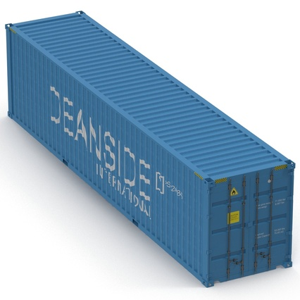 40 ft High Cube Container Blue 2. Render 14