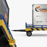 Airport Transport Trailer Low Bed Platform with Container Rigged. Preview 8