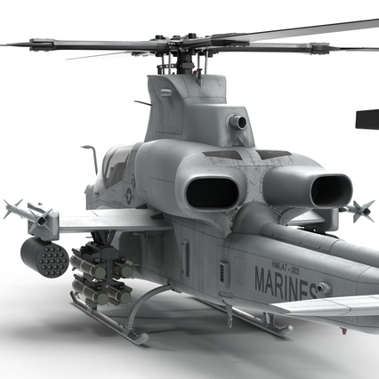 Attack Helicopter Bell AH 1Z Viper Rigged. Render 42