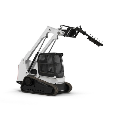 Compact Tracked Loader with Auger. Render 18