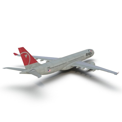 Jet Airliner Airbus A330-300 Northwest Airlines Rigged. Render 24