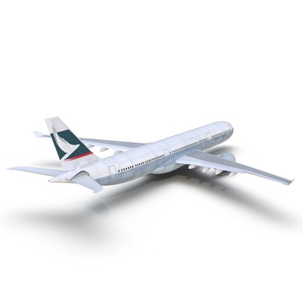 Jet Airliner Airbus A330-300 Cathay Pacific Rigged. Render 14