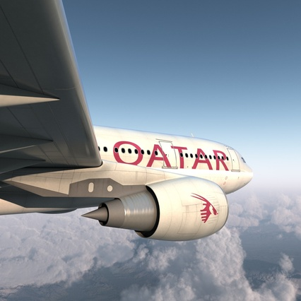 Jet Airliner Airbus A330-200 Qatar. Render 12