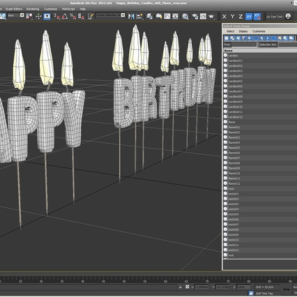 Happy Birthday Candles with Flame. Render 18