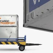Airport Transport Trailer Low Bed Platform with Container Rigged. Preview 10