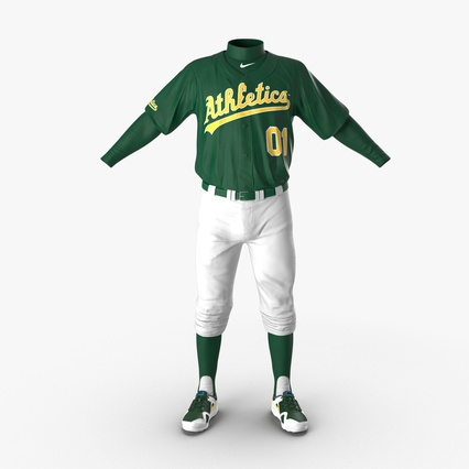 Baseball Player Outfit Athletics 3. Render 2