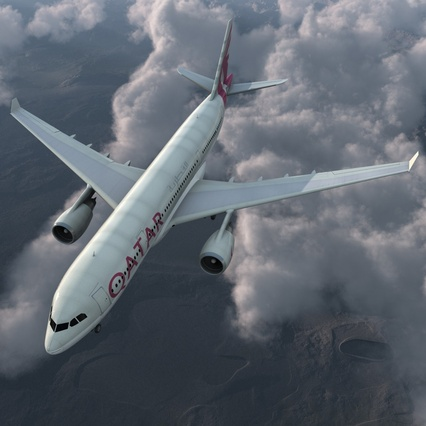 Jet Airliner Airbus A330-200 Qatar. Render 5