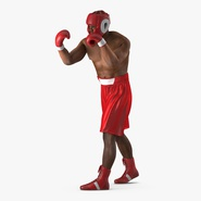 African American Boxer Red Suit Rigged