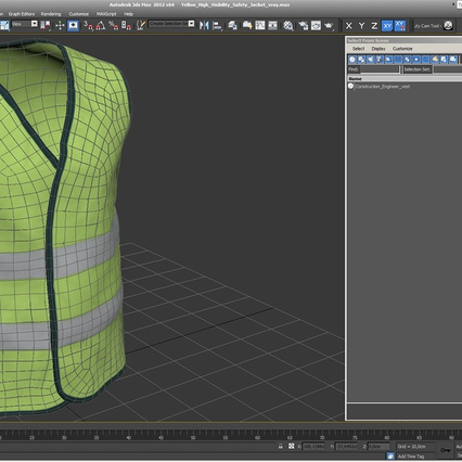 Yellow High Visibility Safety Jacket. Render 12