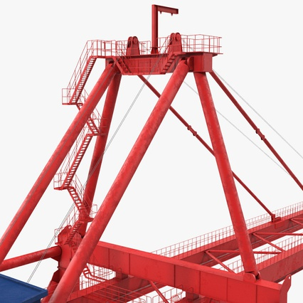 Port Container Crane Red with Container. Render 28