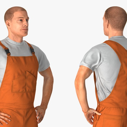 Factory Worker Orange Overalls Standing Pose. Render 9
