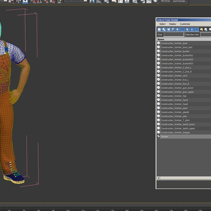 Worker In Orange Overalls Standing Pose. Render 20