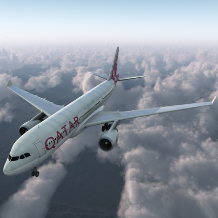 Jet Airliner Airbus A330-200 Qatar. Render 2