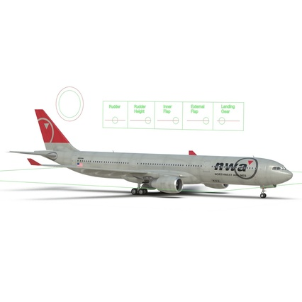 Jet Airliner Airbus A330-300 Northwest Airlines Rigged. Render 5