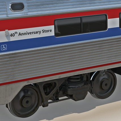 Railroad Amtrak Passenger Car 2. Render 34