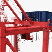 Port Container Crane Red with Container. Preview 27