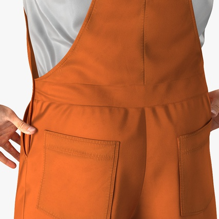 Worker In Orange Overalls Standing Pose. Render 10