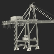 Port Container Crane Red with Container. Preview 4