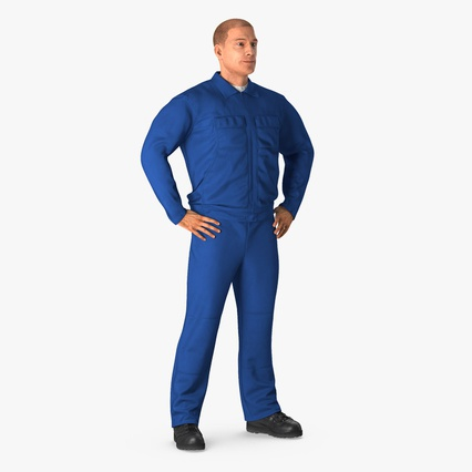 Construction Worker Blue Overalls Standing Pose. Render 2