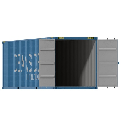 40 ft High Cube Container Blue 2. Render 6