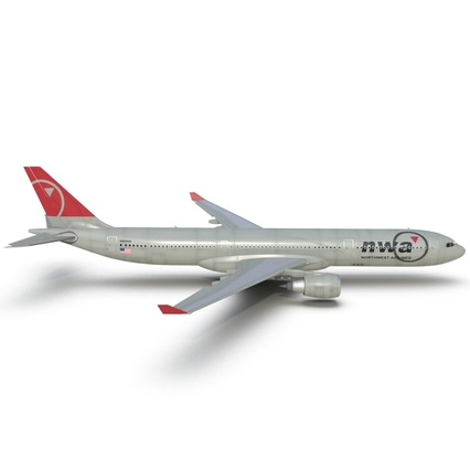 Jet Airliner Airbus A330-300 Northwest Airlines Rigged. Render 25