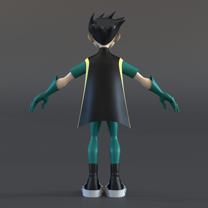 Robin Cartoon Character Rigged for Maya. Render 8
