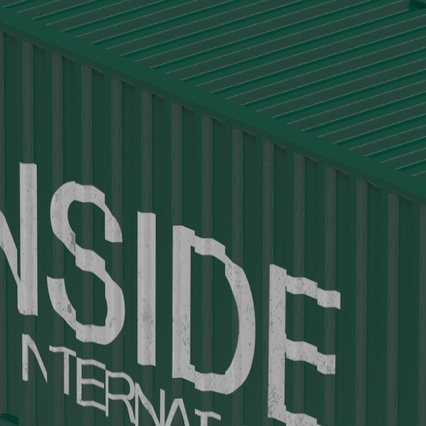 40 ft High Cube Container Green. Render 29