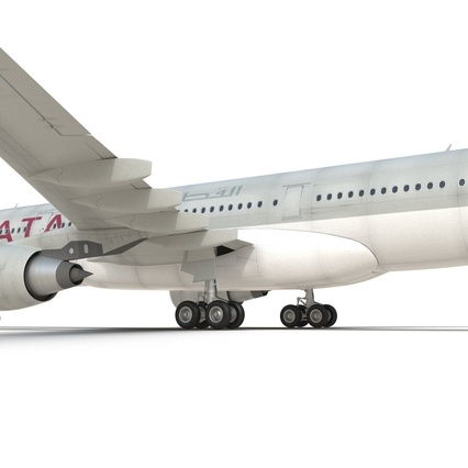 Jet Airliner Airbus A330-200 Qatar. Render 37