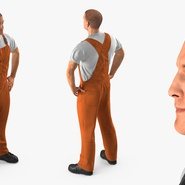 Worker In Orange Overalls Standing Pose. Preview 6