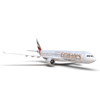 Jet Airliner Airbus A330-300 Emirates Rigged. Render 34