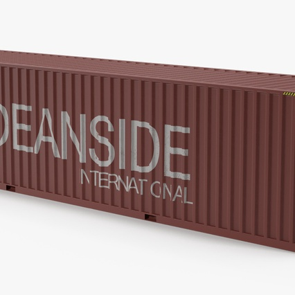Port Container Crane Red with Container. Render 37