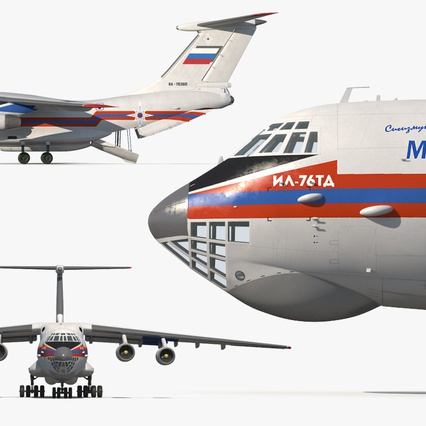 Ilyushin Il-76 Emergency Russian Air Force Rigged. Render 13