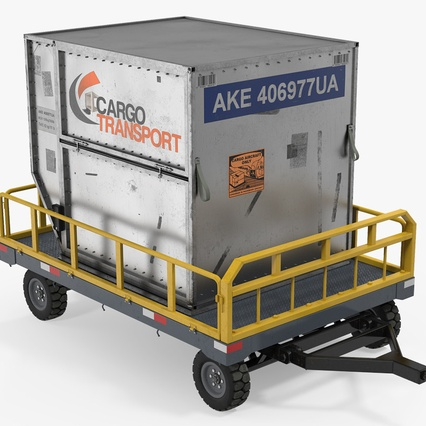 Airport Luggage Trolley Baggage Trailer with Container. Render 2
