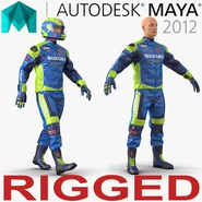 Motorcycle Rider Rigged for Maya