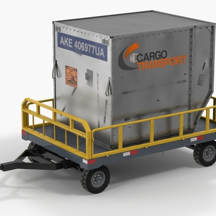 Airport Luggage Trolley Baggage Trailer with Container. Render 3