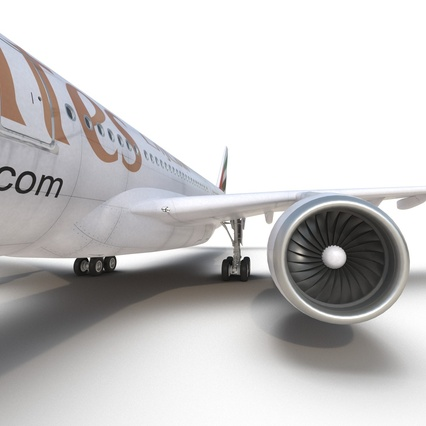 Jet Airliner Airbus A330-300 Emirates Rigged. Render 48