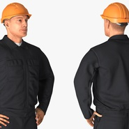 Worker Black Uniform with Hardhat Standing Pose. Preview 8