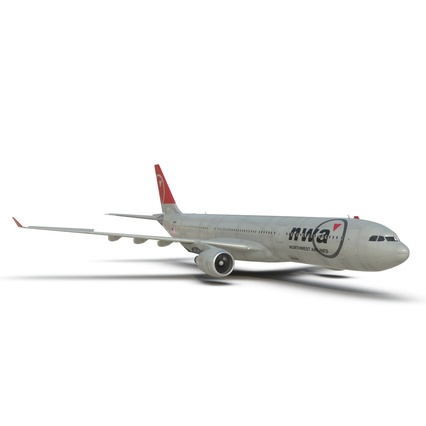 Jet Airliner Airbus A330-300 Northwest Airlines Rigged. Render 33