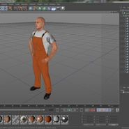 Worker In Orange Overalls Standing Pose. Preview 21