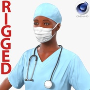 Female Surgeon African American Rigged for Cinema 4D
