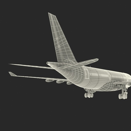 Jet Airliner Airbus A330-200 Qatar. Render 60