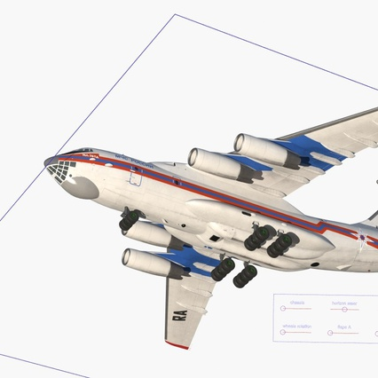 Ilyushin Il-76 Emergency Russian Air Force Rigged. Render 5