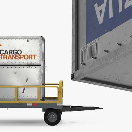Airport Luggage Trolley Baggage Trailer with Container. Render 12