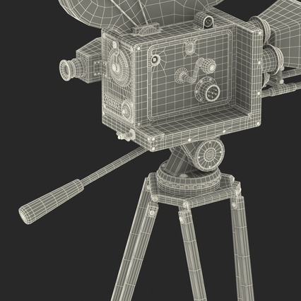 Vintage Video Camera and Tripod. Render 46