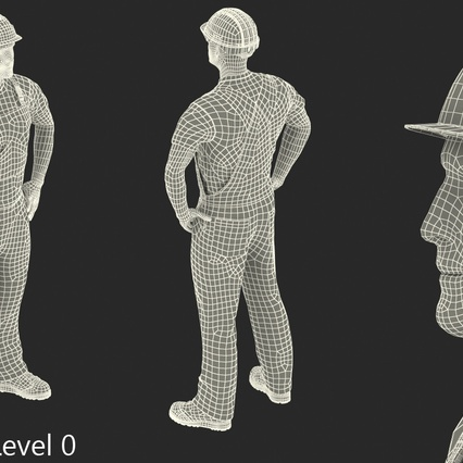 Construction Worker with Hardhat Standing Pose. Render 18