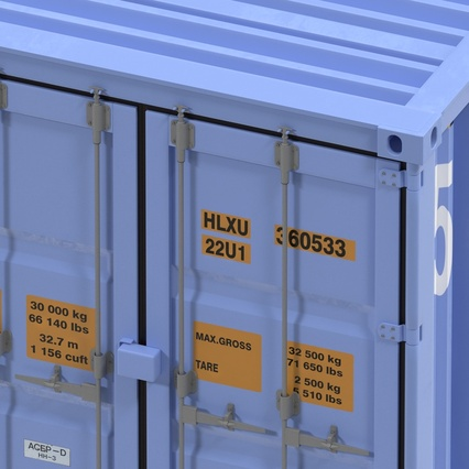 45 ft High Cube Container Blue. Render 24